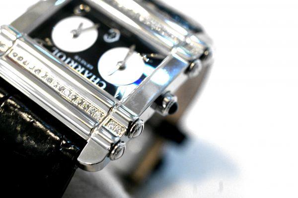 ○新品同様 CHARRIOL シャリオール CDT-82-1-81-DT01 アクター デュアル タイム ダイヤ レディース 腕時計 クオーツ T0066_画像4