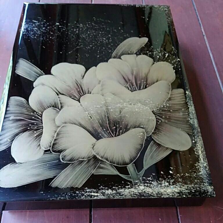 漆塗り、文箱、ナシジ、花沈金でほつてます。_画像2