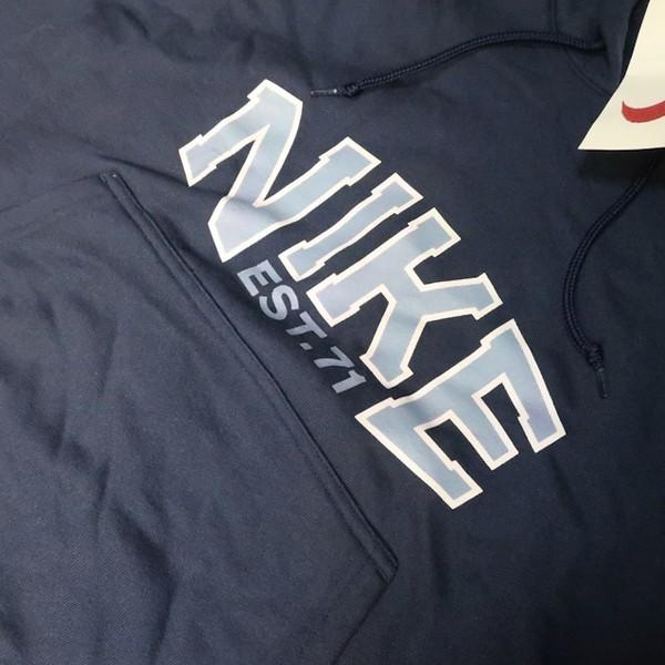 タグ付き未使用! 90s NIKE ナイキ デカロゴ ヴィンテージ スウェット パーカー フーディー ネイビー ブルー 紺 水色 Sサイズ メンズ_画像3