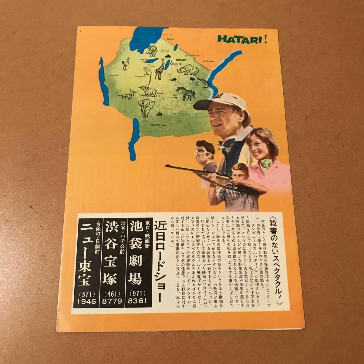 【映画チラシ】『ハタリ!』1962年初公開作品 主演:ジョン・ウェイン 通常B5版2枚折チラシ_画像2