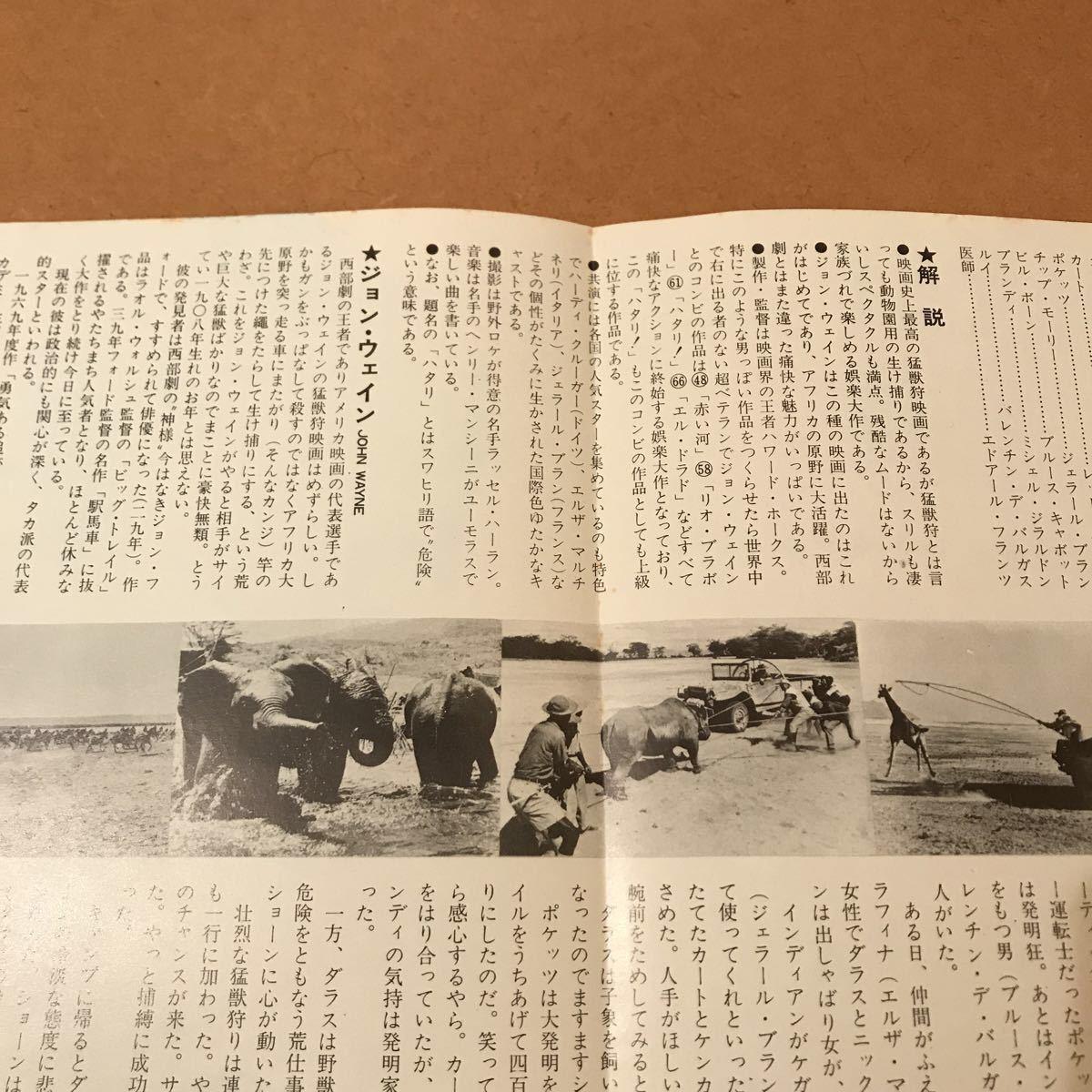【映画チラシ】『ハタリ!』1962年初公開作品 主演:ジョン・ウェイン 通常B5版2枚折チラシ_画像6