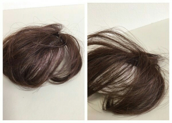 OWG50-3 展示品  人毛100%ハンドメイド 軽やかヘアピース 部分ウイッグ ブラウン 白髪隠し ボリュームアップ  医療用にも_画像2