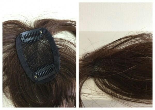 OWG50-3 展示品  人毛100%ハンドメイド 軽やかヘアピース 部分ウイッグ ブラウン 白髪隠し ボリュームアップ  医療用にも_画像3