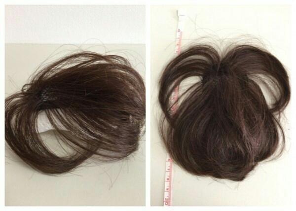 OWG50-3 展示品  人毛100%ハンドメイド 軽やかヘアピース 部分ウイッグ ブラウン 白髪隠し ボリュームアップ  医療用にも