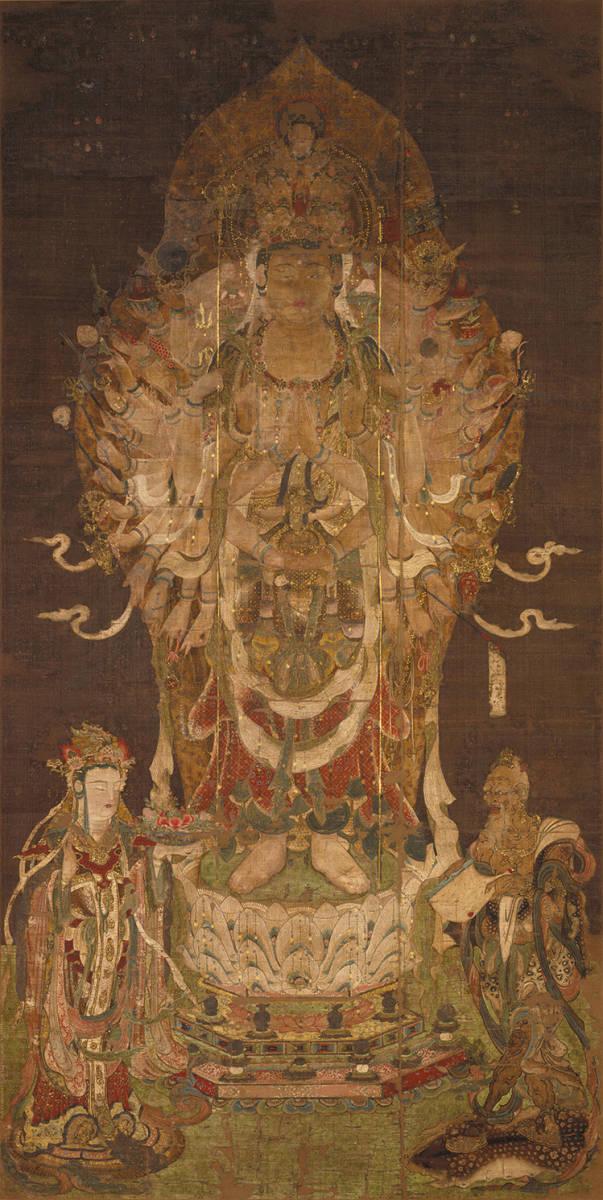 中国美術 骨董品「千手観音」仏教画/人物画 絹本 仏教美術 大珍品
