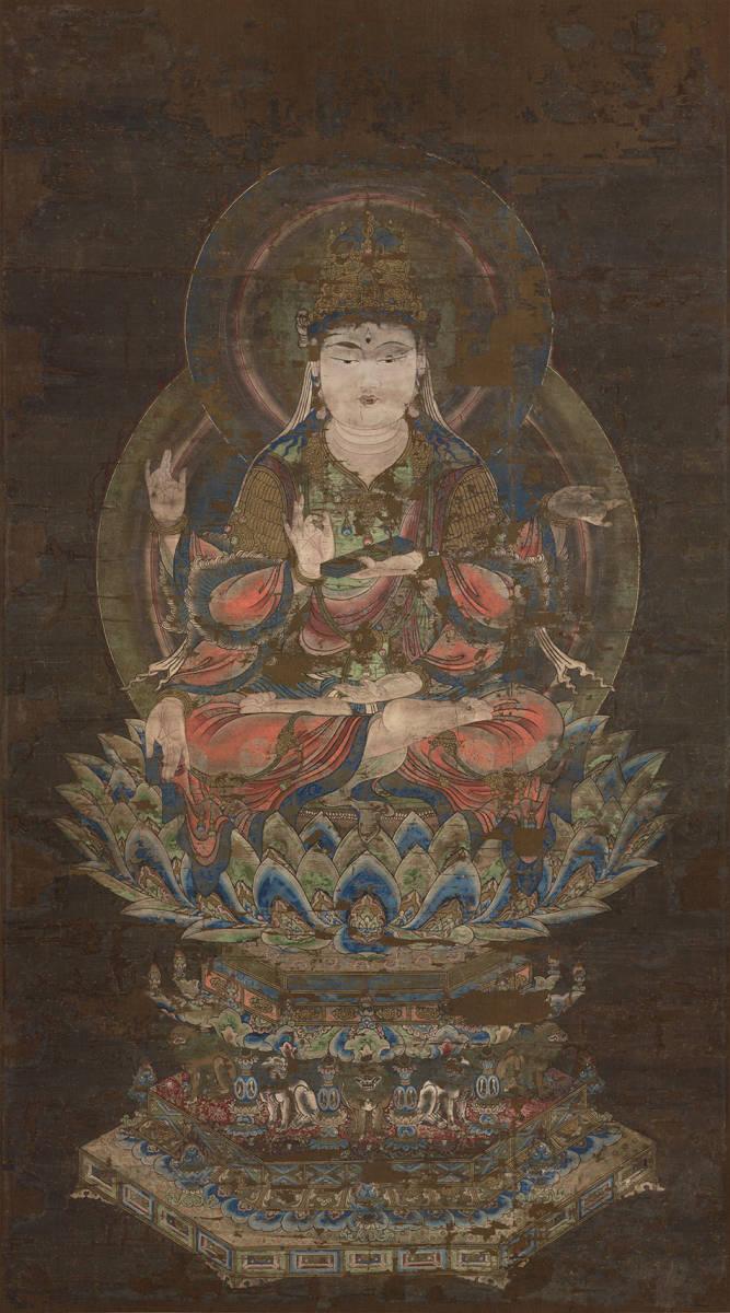 中国美術 骨董品「般若菩薩像」仏教画/人物画 仏教美術 大珍品