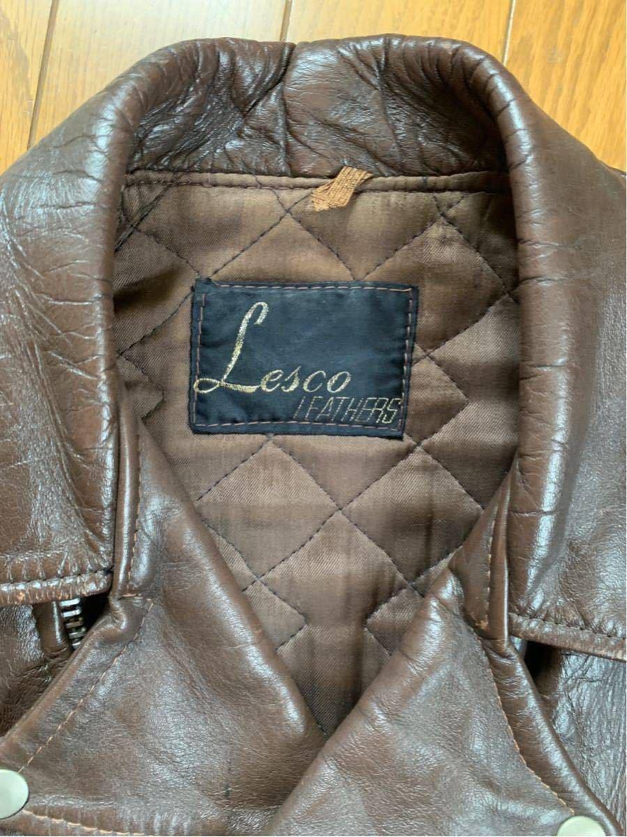 Lesco Leathers 70年代USライダース 38程度 茶 ブラウン Schott ルイスレザー ショット Buco Vanson ベルト有希少_画像3
