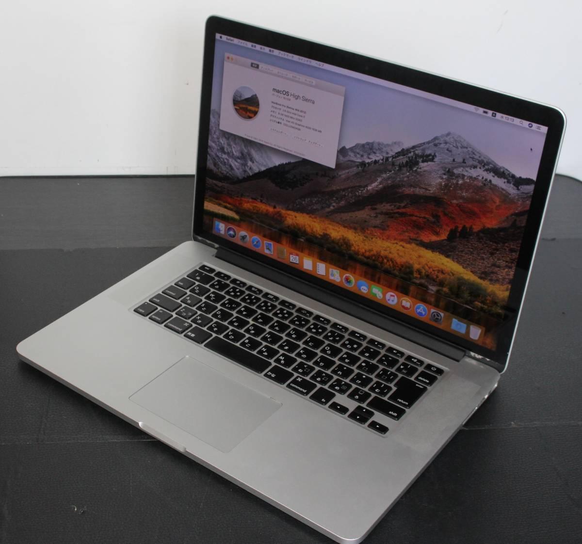★MacBook Pro A1398 Core i7 2.60Ghz 8GB SSD 512GB 15.4TFT カメラ★Mid 2012★OS High Sierra★