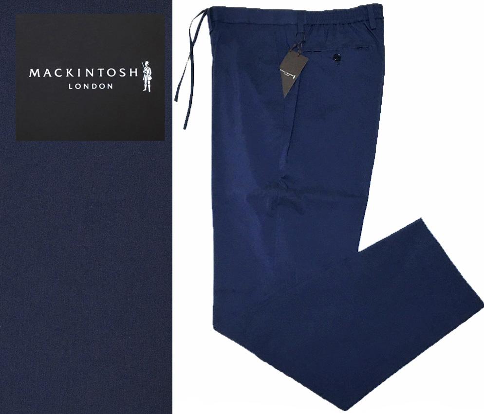 新品 MACKINTOSH LONDON シャンブレー ストレッチ イージー パンツ 40 (80-86) ネイビー マッキントッシュロンドン 軽量で清涼感のある一本