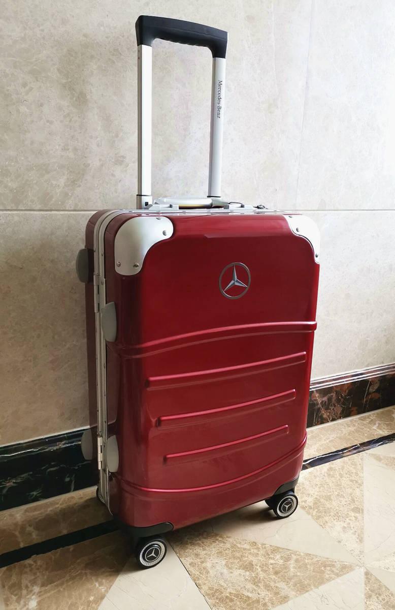 最高級※定価12万※メルセデス・ベンツ/Mercedes-Benz アルミフレーム・軽量/静音・オリジナル・スーツケース・キャリーケース・赤_画像2