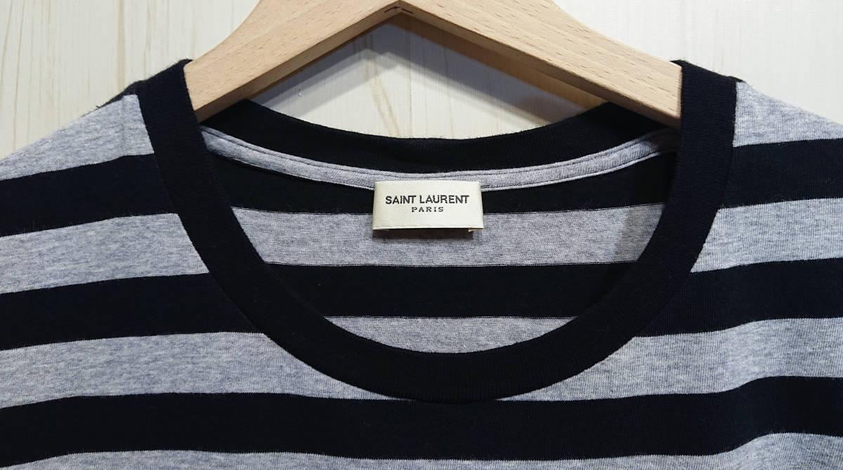 SAINT LOURENT PARIS サンローランパリ エディ期ラストコレクション ボーダーTシャツ ルーズシルエット エディスリマン 国内正規品_画像3