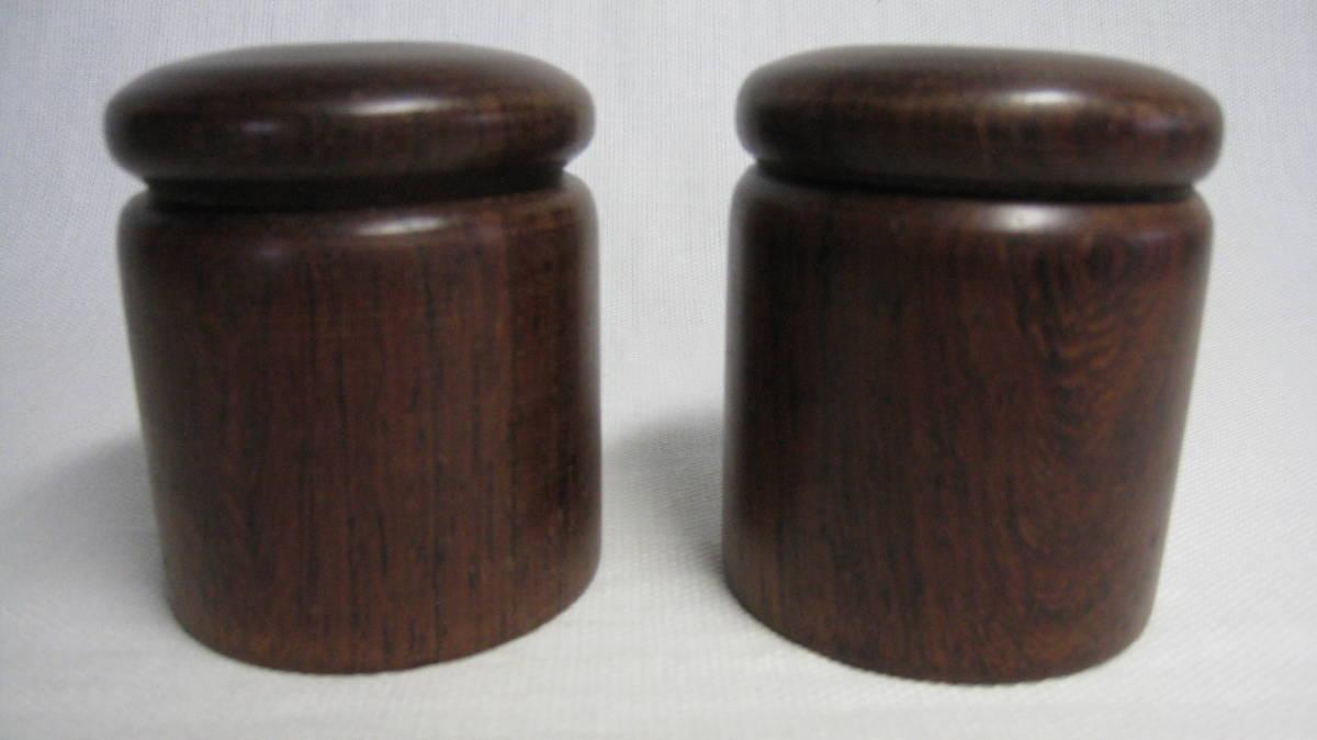 高級銘木紫檀材 大副用軸先一対 未使用品_画像1