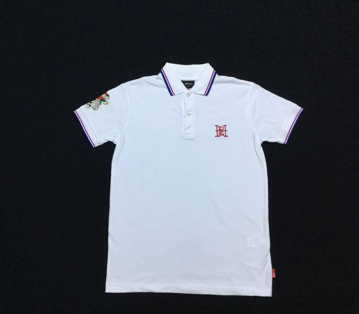 ED HARDY エドハーディー // 刺繍 プリント 半袖 ポロシャツ (白) サイズ M_画像1