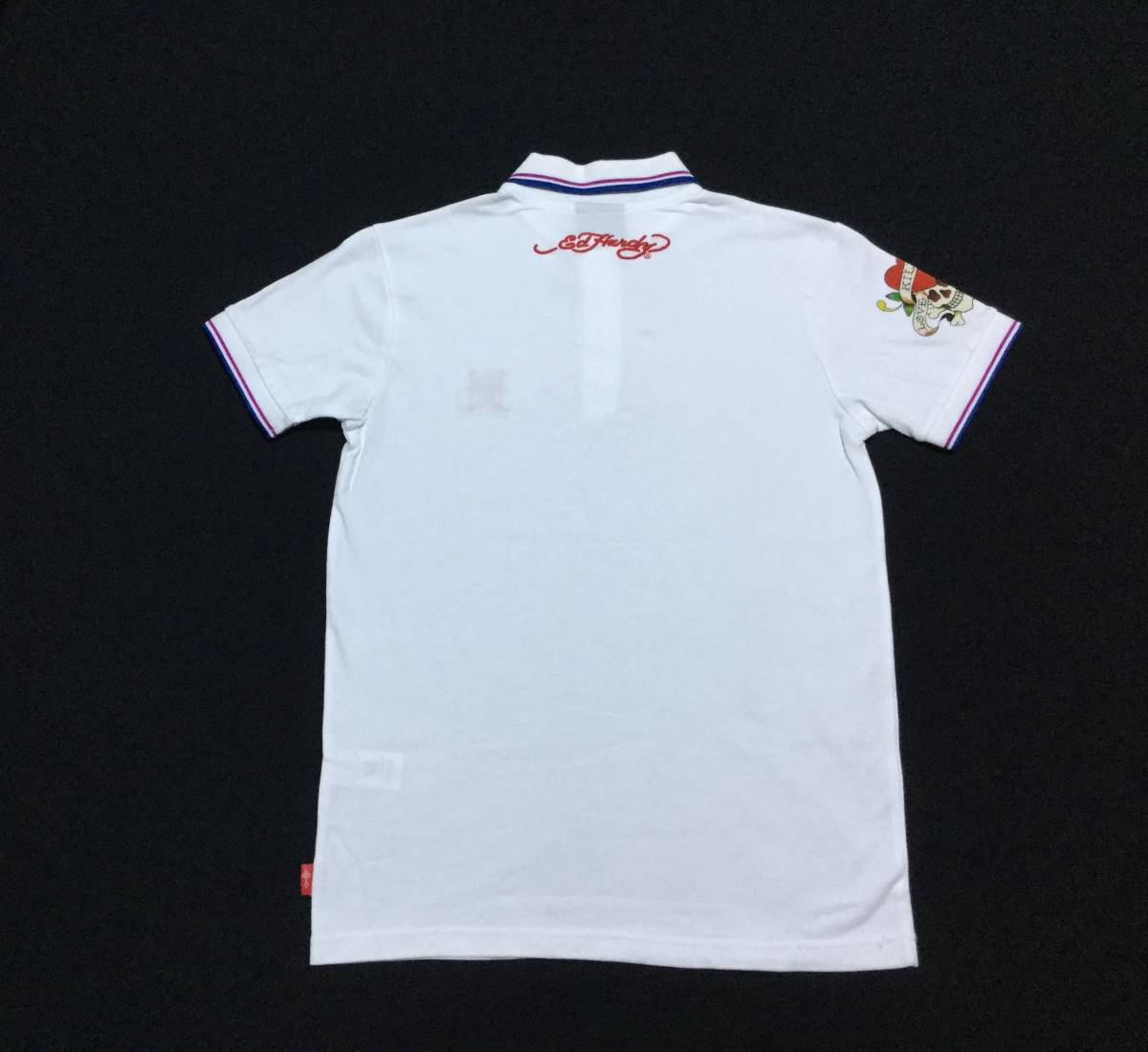 ED HARDY エドハーディー // 刺繍 プリント 半袖 ポロシャツ (白) サイズ M_画像2
