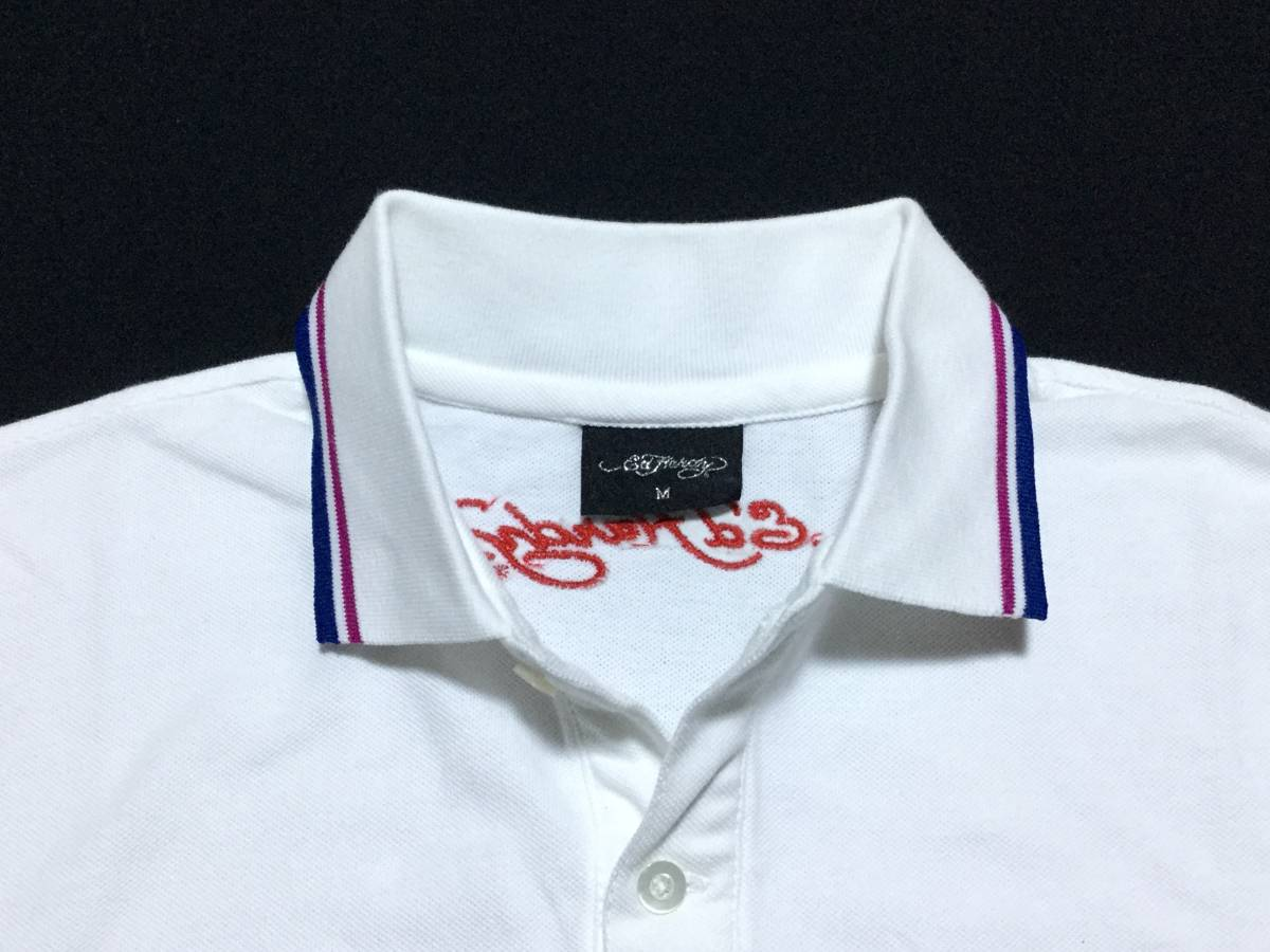 ED HARDY エドハーディー // 刺繍 プリント 半袖 ポロシャツ (白) サイズ M_画像4