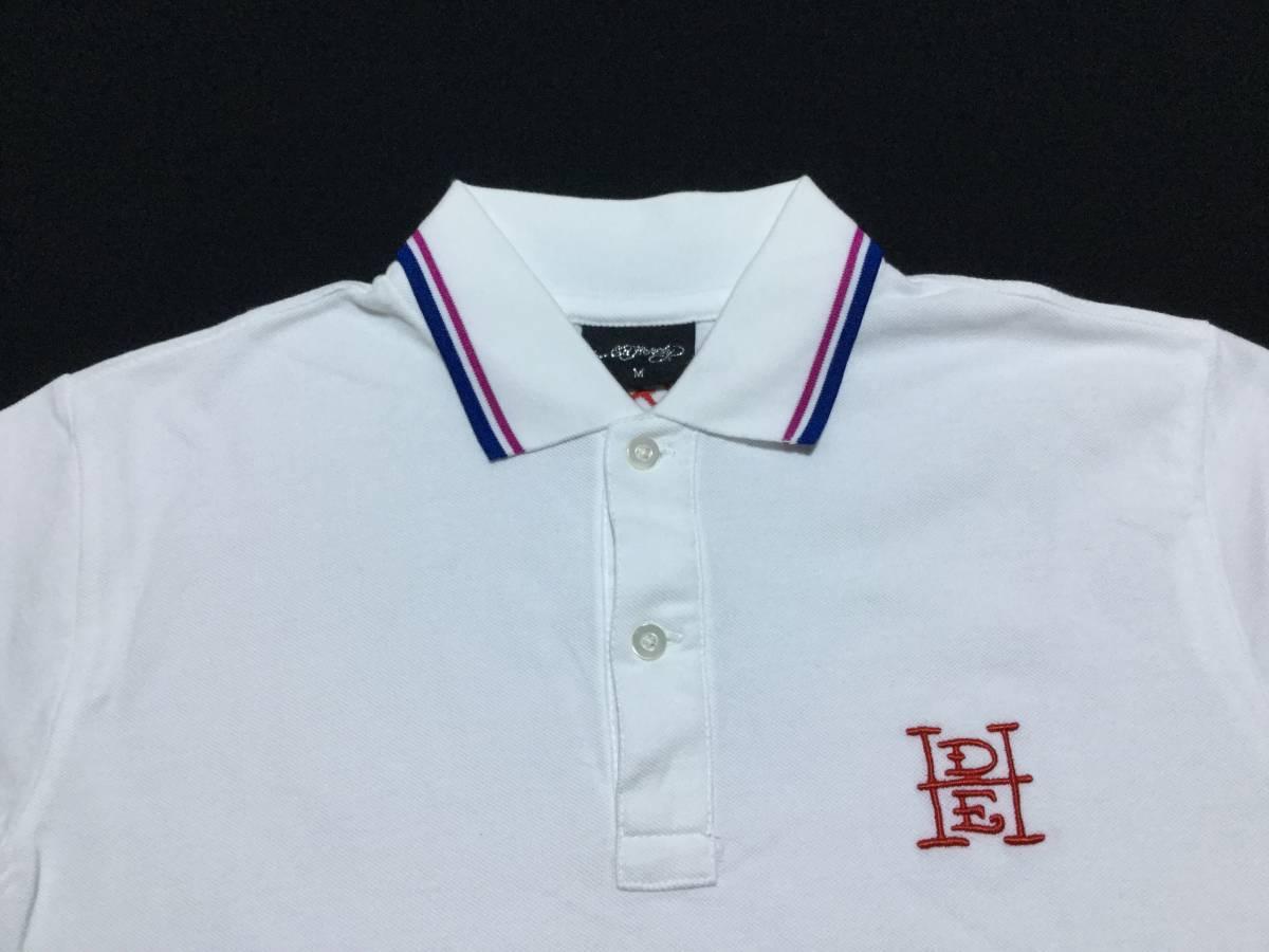 ED HARDY エドハーディー // 刺繍 プリント 半袖 ポロシャツ (白) サイズ M_画像3