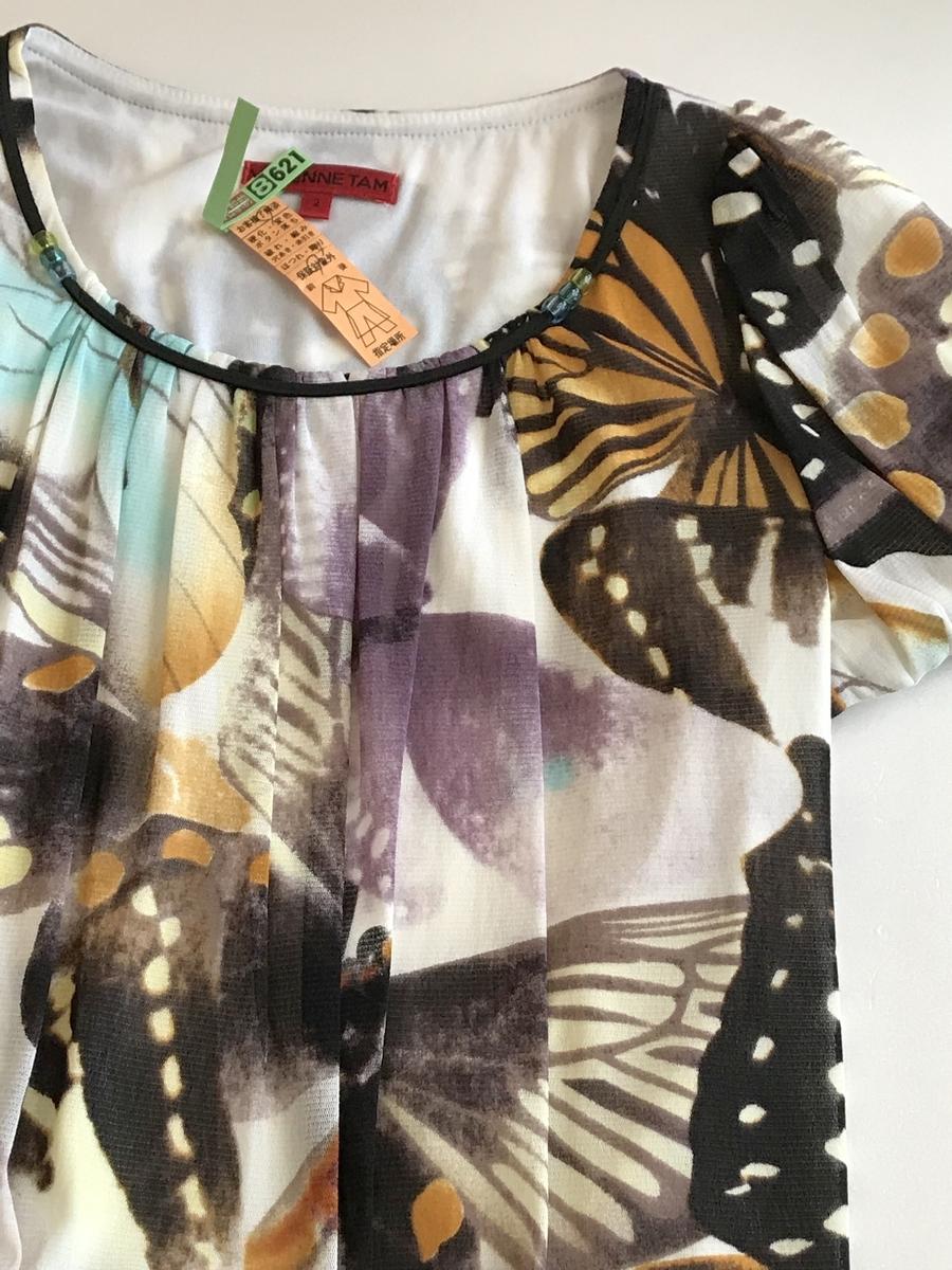 美品★VIVIENNE TAM ヴィヴィアン タム★ワンピースドレス 2サイズ(XS-Sサイズ、7-9号相当)チュニック丈 蝶のモチーフ 春夏のお出かけに_画像1