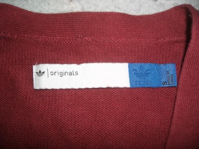★美U adidas/Originals HZO カーディガン S `12製アディダスオリジナルス HZO ウールニットカーディガン バーガンディ_画像3