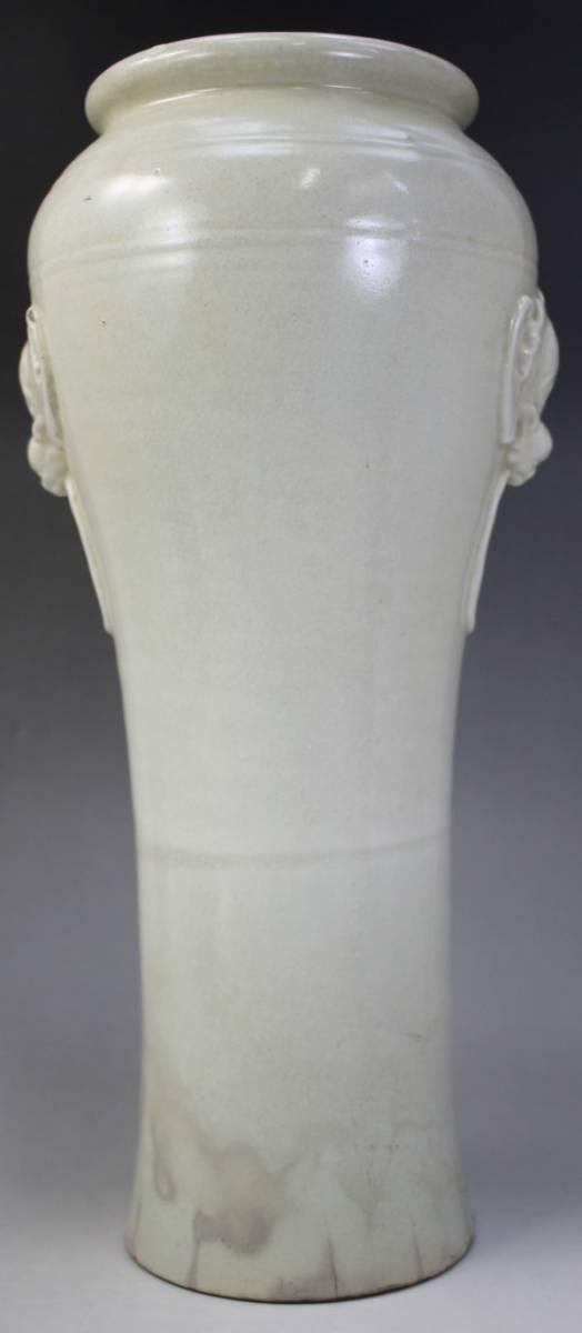 F-054 白薩摩 花瓶 蝙蝠 薩摩焼 白磁 高さ42.5センチ 徳化窯風 花生け 花器 壺 中国 唐 蔵出 古玩_画像4
