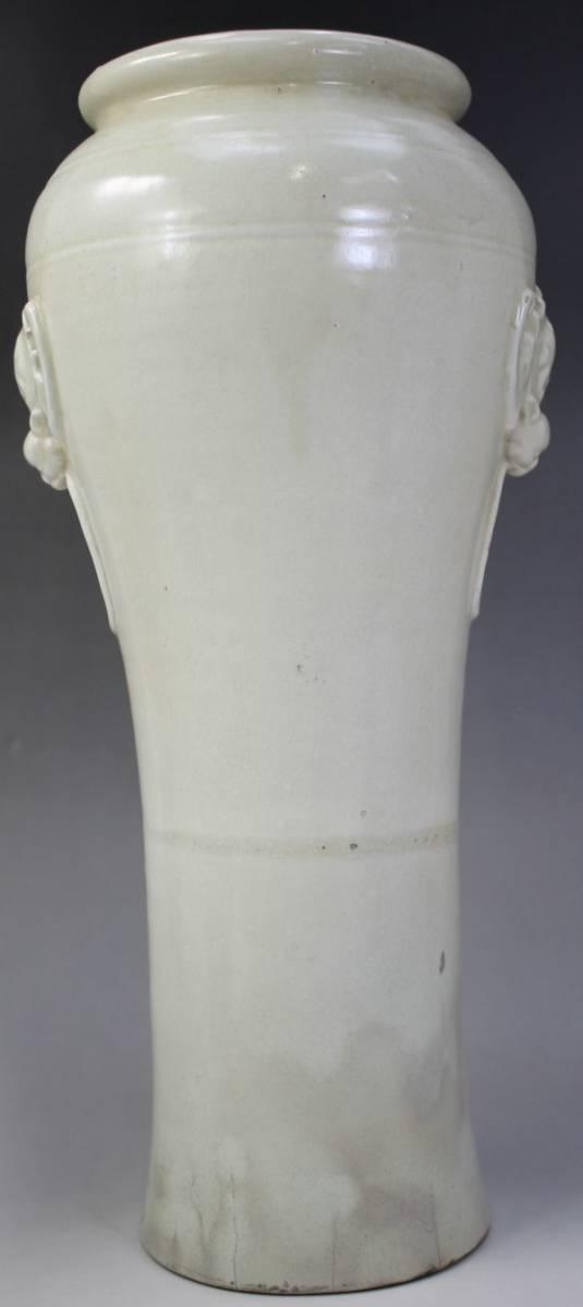 F-054 白薩摩 花瓶 蝙蝠 薩摩焼 白磁 高さ42.5センチ 徳化窯風 花生け 花器 壺 中国 唐 蔵出 古玩_画像2