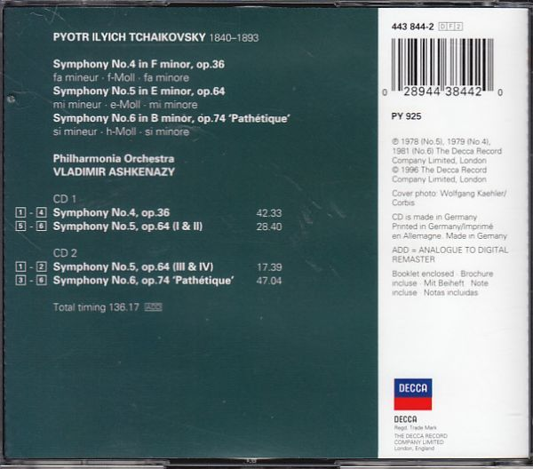 6/16# 2CD*アシュケナージ/チャイコフスキー:交響曲第4,5,6番 悲愴_画像2