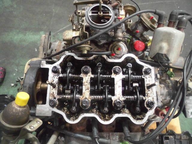 【G10】 昭和車 旧車 シャレード エンジン+ミッション+補機類付き 原動機 CB-32 48648km 低走行車 圧縮のみ測定済み ジャンク品_画像7