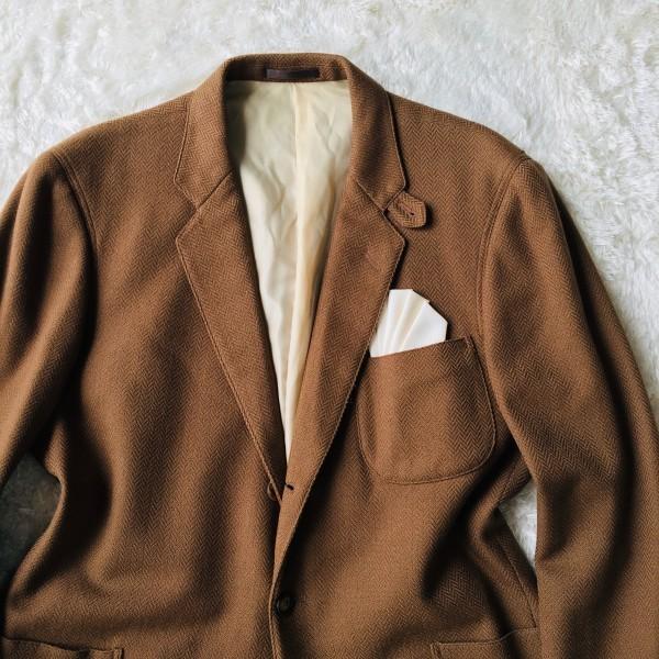 5152 バーバリー Burberry's カシミア ヘリンボーン ジャケット メンズ ツイード キャメル ブラウン L位_画像3