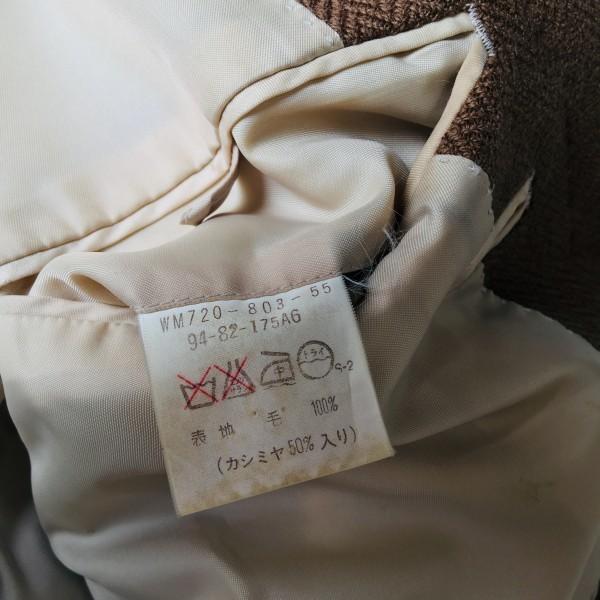 5152 バーバリー Burberry's カシミア ヘリンボーン ジャケット メンズ ツイード キャメル ブラウン L位_画像9
