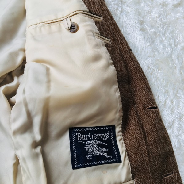 5152 バーバリー Burberry's カシミア ヘリンボーン ジャケット メンズ ツイード キャメル ブラウン L位_画像8