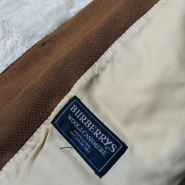5152 バーバリー Burberry's カシミア ヘリンボーン ジャケット メンズ ツイード キャメル ブラウン L位_画像7