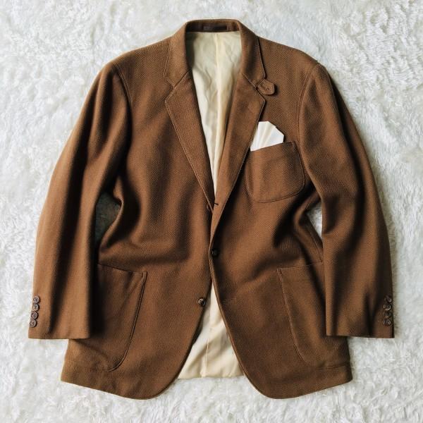 5152 バーバリー Burberry's カシミア ヘリンボーン ジャケット メンズ ツイード キャメル ブラウン L位