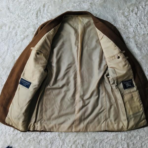 5152 バーバリー Burberry's カシミア ヘリンボーン ジャケット メンズ ツイード キャメル ブラウン L位_画像5