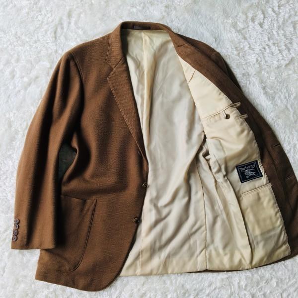 5152 バーバリー Burberry's カシミア ヘリンボーン ジャケット メンズ ツイード キャメル ブラウン L位_画像4