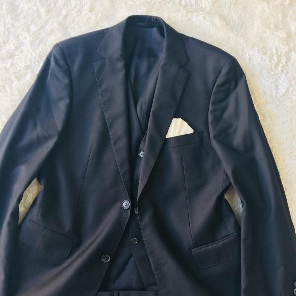 646 美品 スリーピース HUGO BOSS ヒューゴボス スーツ ブラック 黒 48 メンズ XL位 3ピース_画像2