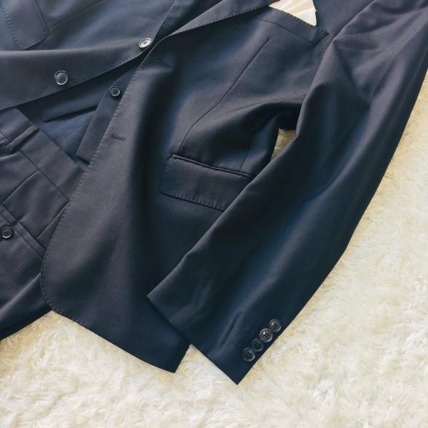 646 美品 スリーピース HUGO BOSS ヒューゴボス スーツ ブラック 黒 48 メンズ XL位 3ピース_画像4