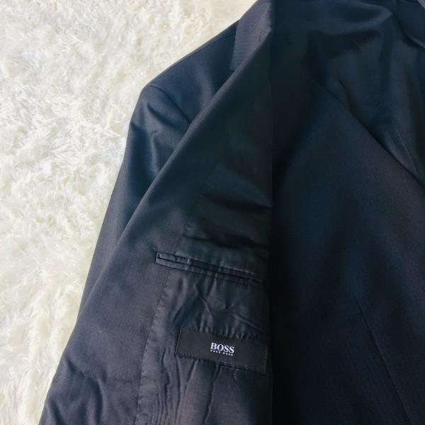 646 美品 スリーピース HUGO BOSS ヒューゴボス スーツ ブラック 黒 48 メンズ XL位 3ピース_画像8