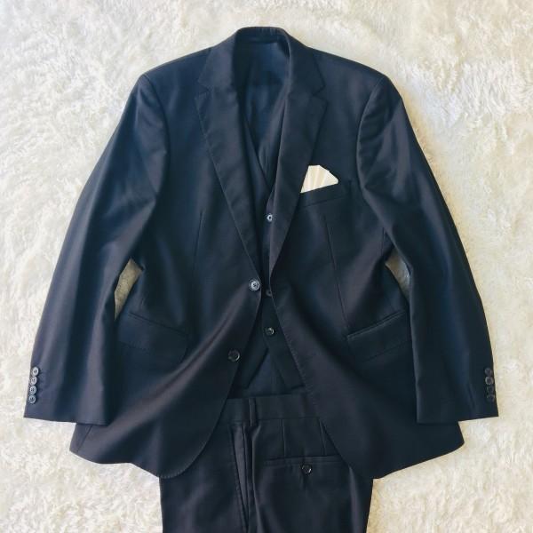 646 美品 スリーピース HUGO BOSS ヒューゴボス スーツ ブラック 黒 48 メンズ XL位 3ピース