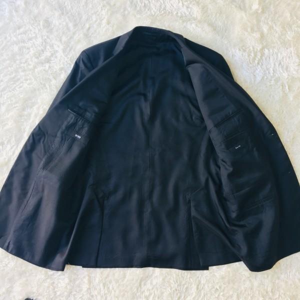 646 美品 スリーピース HUGO BOSS ヒューゴボス スーツ ブラック 黒 48 メンズ XL位 3ピース_画像6