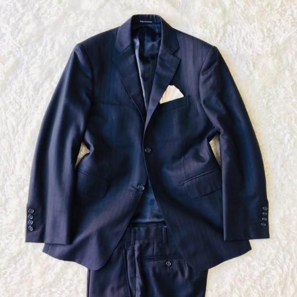 648 美品 Takashimaya x ゼニア Ermenegildo Zegna メンズ スーツ ネイビー ストライプ 高島屋 メンズ_画像2