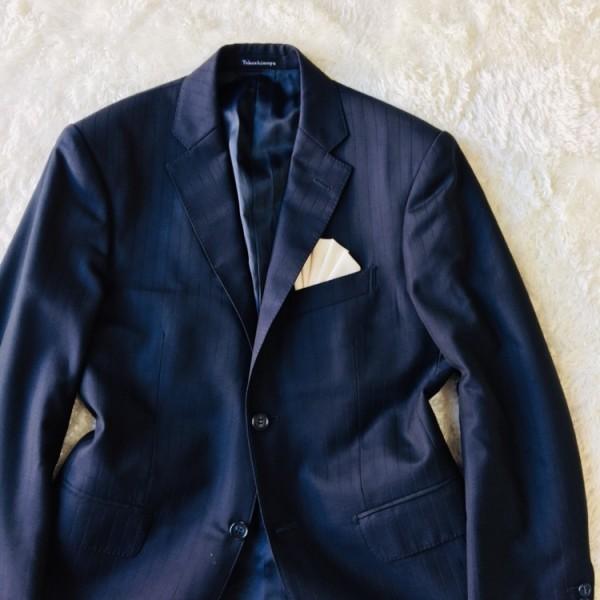 648 美品 Takashimaya x ゼニア Ermenegildo Zegna メンズ スーツ ネイビー ストライプ 高島屋 メンズ_画像3