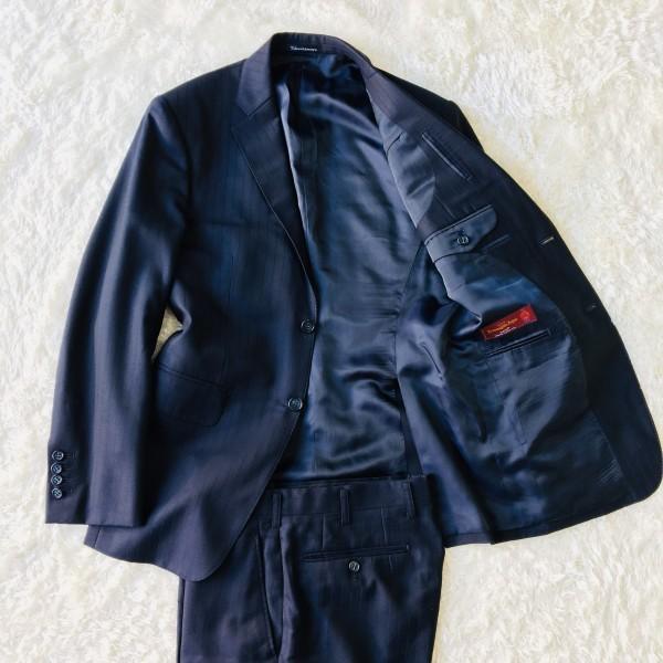 648 美品 Takashimaya x ゼニア Ermenegildo Zegna メンズ スーツ ネイビー ストライプ 高島屋 メンズ