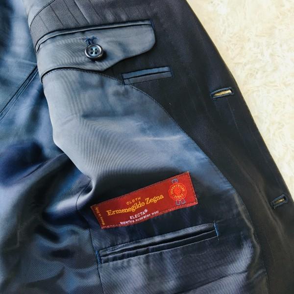 648 美品 Takashimaya x ゼニア Ermenegildo Zegna メンズ スーツ ネイビー ストライプ 高島屋 メンズ_画像8