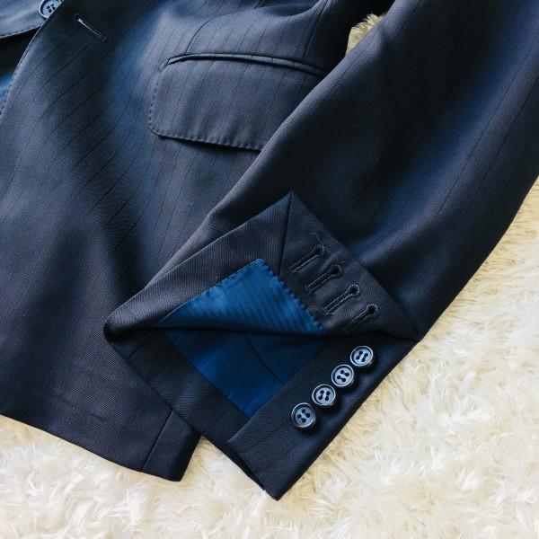 648 美品 Takashimaya x ゼニア Ermenegildo Zegna メンズ スーツ ネイビー ストライプ 高島屋 メンズ_画像6