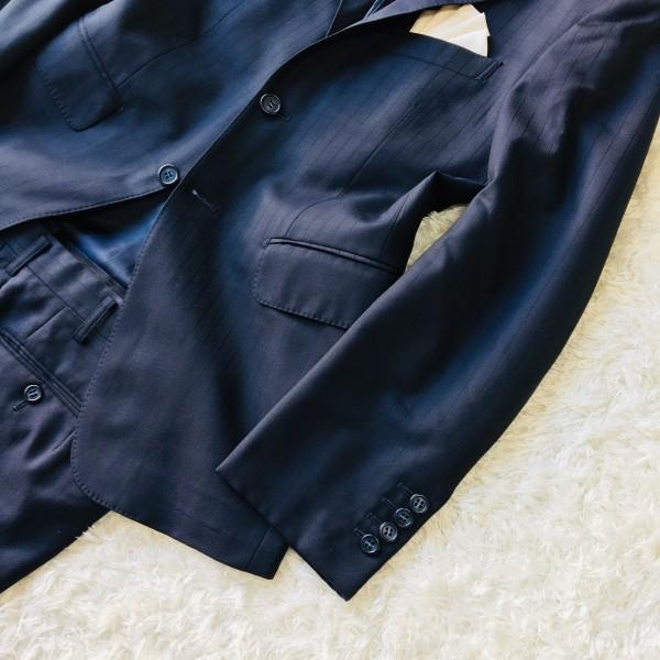 648 美品 Takashimaya x ゼニア Ermenegildo Zegna メンズ スーツ ネイビー ストライプ 高島屋 メンズ_画像5