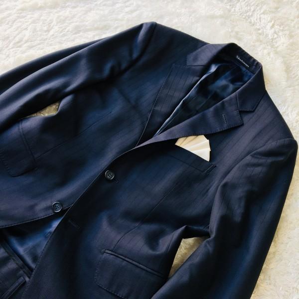 648 美品 Takashimaya x ゼニア Ermenegildo Zegna メンズ スーツ ネイビー ストライプ 高島屋 メンズ_画像4
