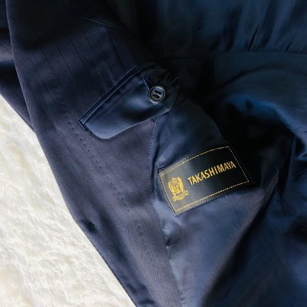 648 美品 Takashimaya x ゼニア Ermenegildo Zegna メンズ スーツ ネイビー ストライプ 高島屋 メンズ_画像9