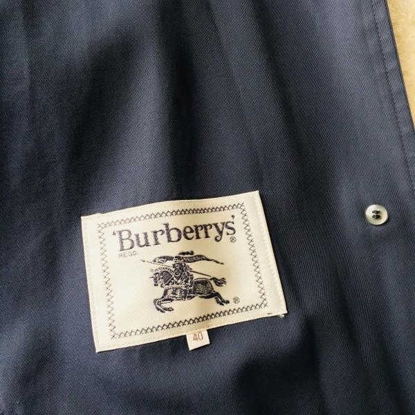05062 バーバリー Burberry's 40 M ネイビー レディース スプリングコート ステンカラーコート クリーニング済み ノバチェック 襟チェック_画像9