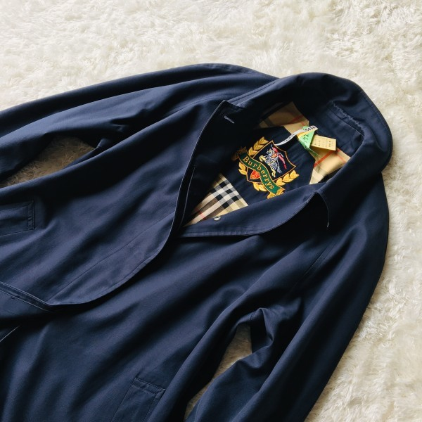 05062 バーバリー Burberry's 40 M ネイビー レディース スプリングコート ステンカラーコート クリーニング済み ノバチェック 襟チェック_画像4