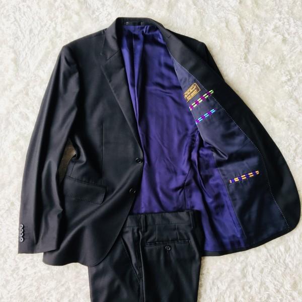 1474 美品 ポールスミスxロロピアーナ super130s FOUR SEASONS PAUL SMITH スーツ L 黒 ブラック メンズ 裏地カラフルxパープル