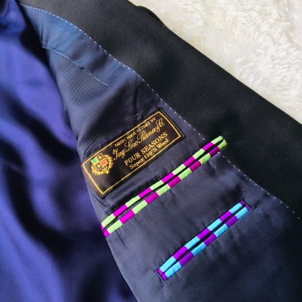 1474 美品 ポールスミスxロロピアーナ super130s FOUR SEASONS PAUL SMITH スーツ L 黒 ブラック メンズ 裏地カラフルxパープル_画像8